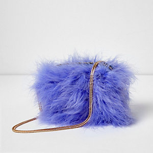 Light purple feather cross body bag