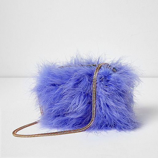 Light purple feather cross body bag