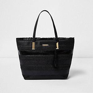 Zwarte strandtas met geweven strepen