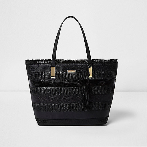 Black woven stripe beach tote bag