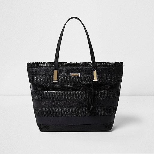 Black woven stripe beach tote bag