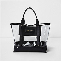Black perspex beach tote bag