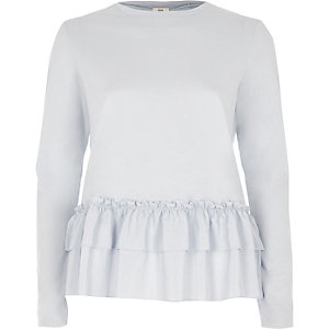 Light blue frill hem long sleeve T-shirt