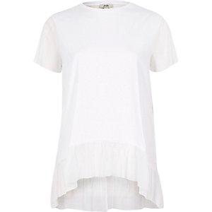 Wit T-shirt van mesh met peplum
