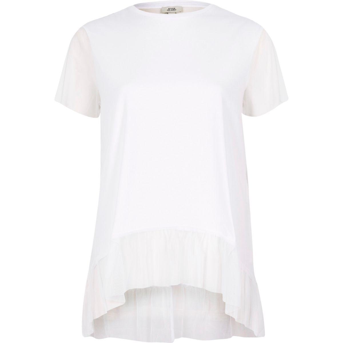 White mesh peplum hem T-shirt