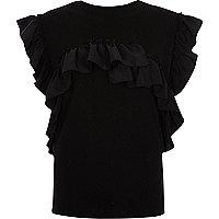 Black frill sleeveless T-shirt