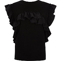 Black frill sleeveless T-shirt