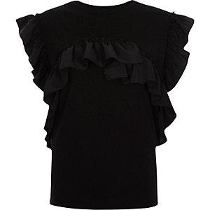 Zwart mouwloos T-shirt met ruches