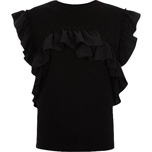 T-shirt noir à volants