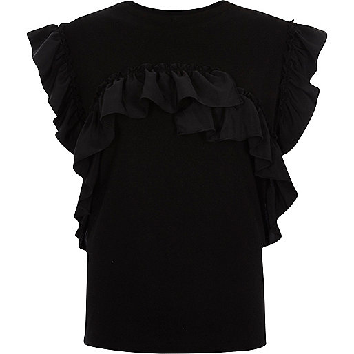 Zwart T-shirt met ruches
