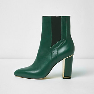 Green pointed block heel boots