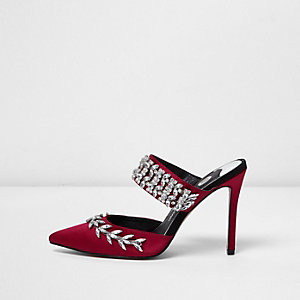 Red rhinestone embellished court heel mules
