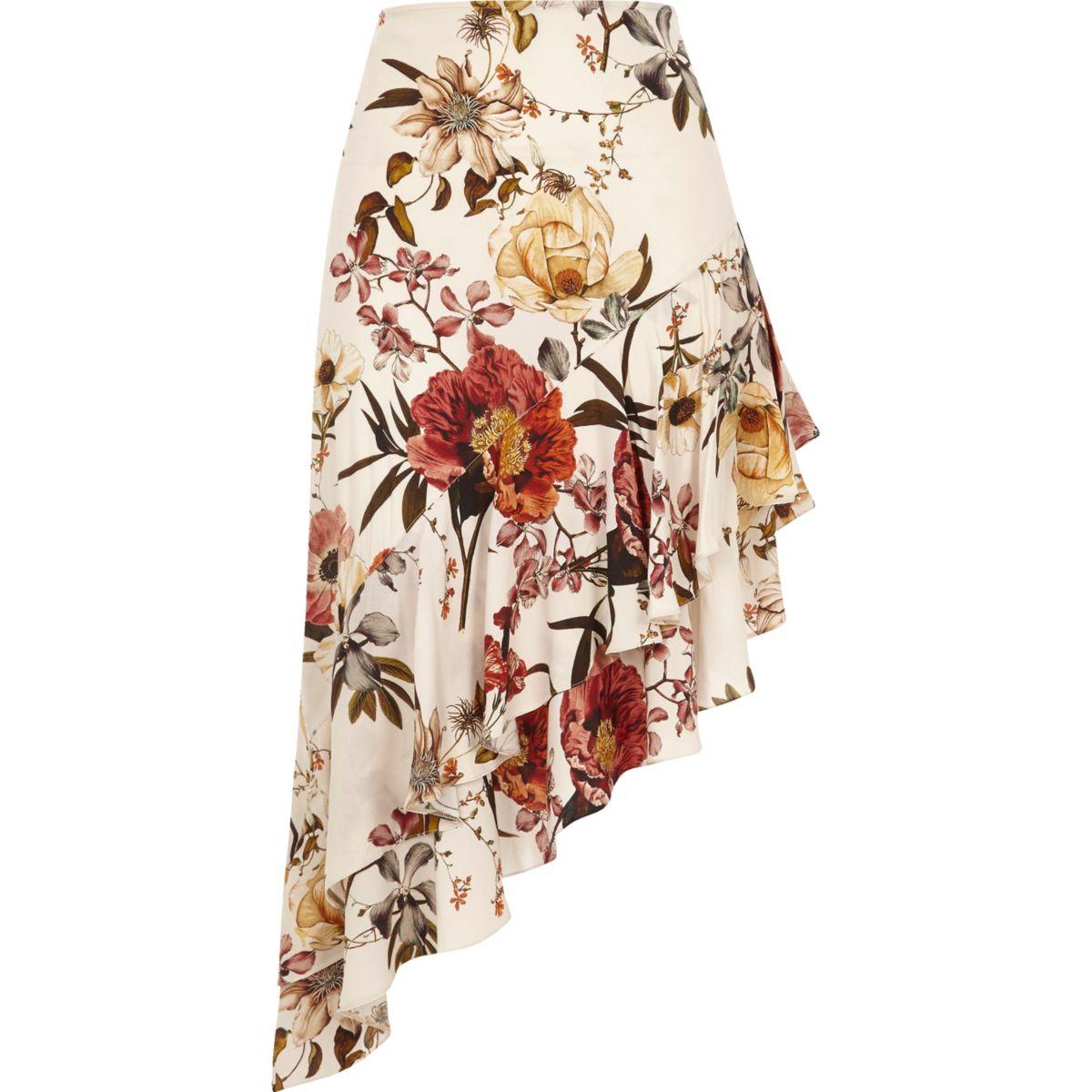 Cream floral print asymmetric frill hem skirt