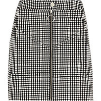 Black check zip front mini skirt