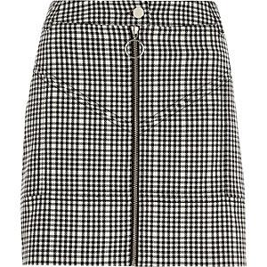 Black check zip front mini skirt