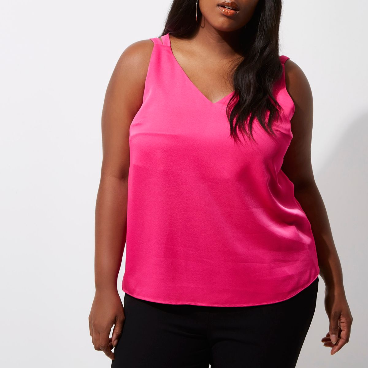 Plus pink cross back double strap cami top