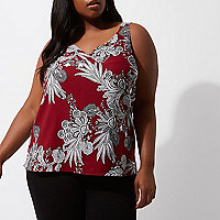Plus red floral cross back cami top
