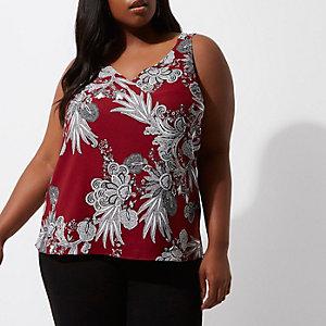 RI Plus - Rode cami top met gekruiste bandjes op de rug en bloemenprint