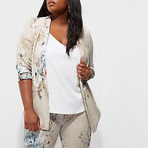 Plus grey floral print longline blazer