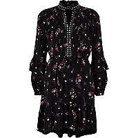 Black floral studded tie neck frill dress