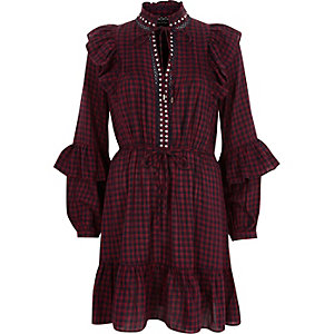 Red check frill high neck dress