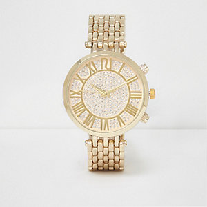 Gold tone rhinestone round watch