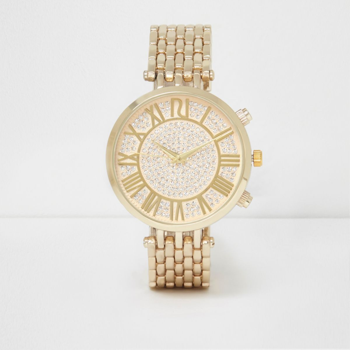 Gold tone rhinestone round watch