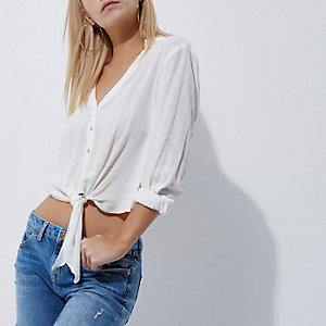 Petite cream knot front shirt