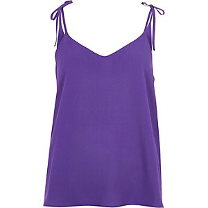 Purple textured bow shoulder cami top