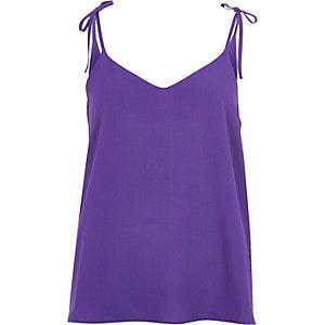 Caraco violet avec nœud sur l'épaule texturé
