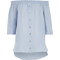 Light blue shirred bardot shirt