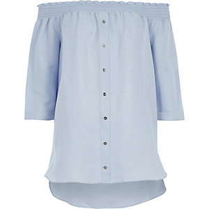 Hellblaues Bardot-Hemd