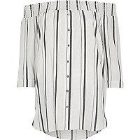 Wit gestreept gesmokt overhemd in bardotstijl