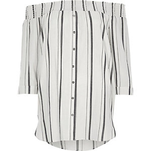 White stripe print shirred bardot shirt