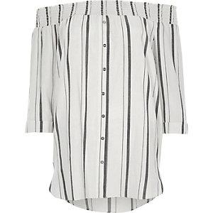 Chemise Bardot froncée blanche à imprimé rayures