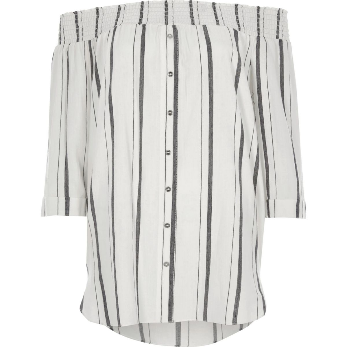 White stripe print shirred bardot shirt