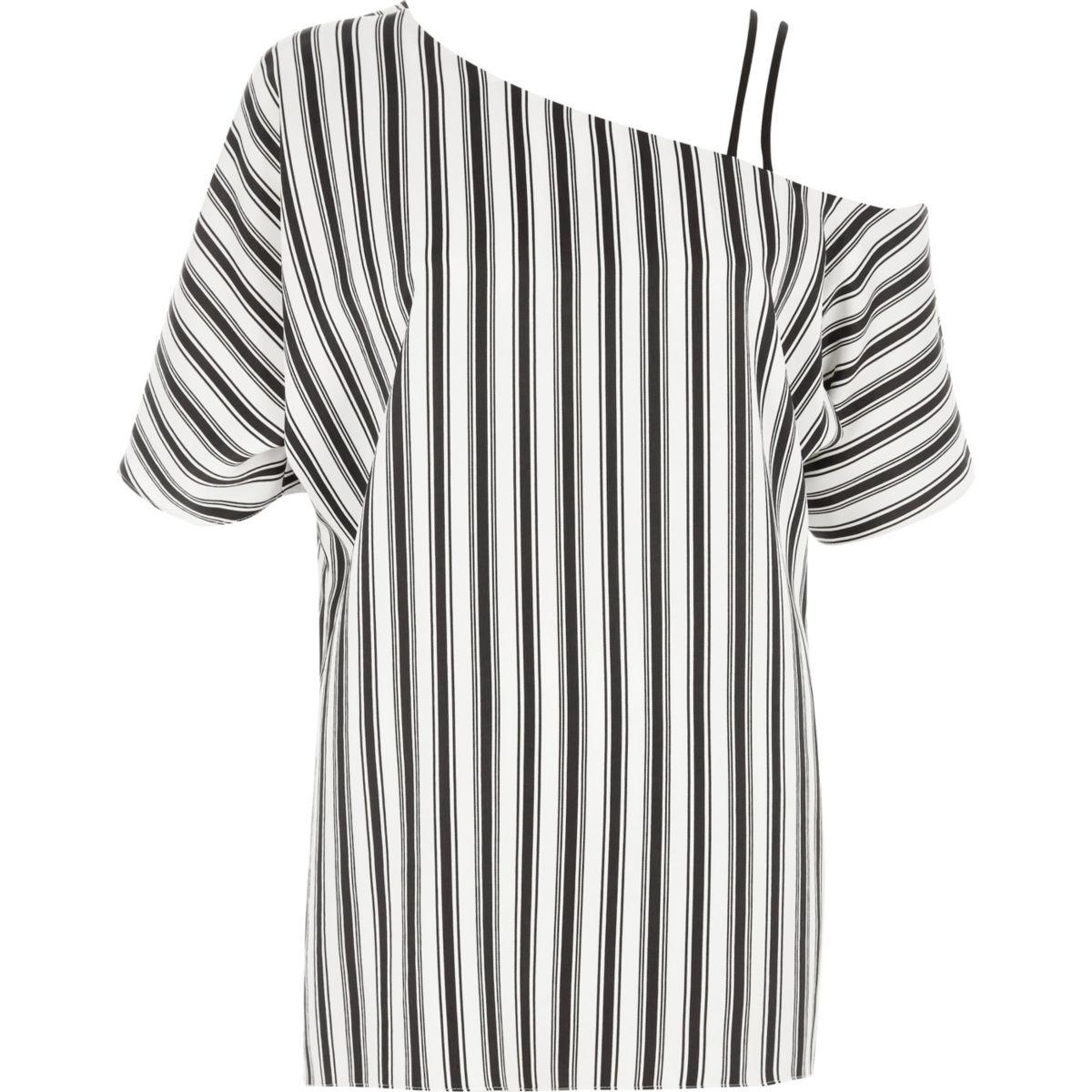 Zwarte gestreepte cami top met bandjes en blote schouder
