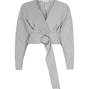 Grey mix stripe ring belt crop top