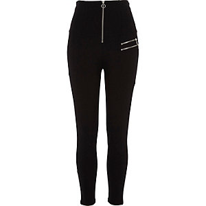 Black high waisted zip detail leggings