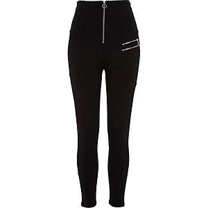 Legging noir zippé taille haute