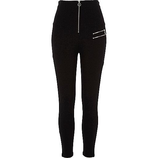 Black high waisted zip detail leggings