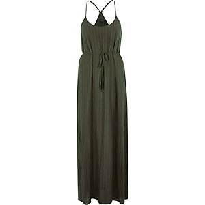 Khaki green tie waist maxi slip dress