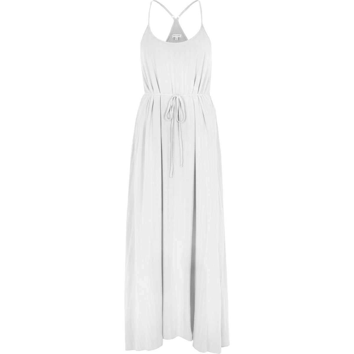 White tie waist maxi slip dress