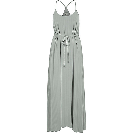 Light green tie waist maxi slip dress