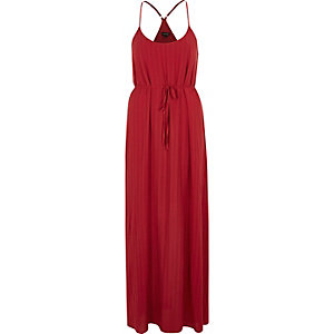 Dark red tie waist maxi slip dress