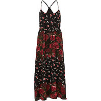 Black rose print maxi slip dress