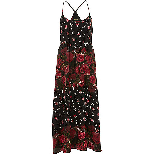 Black rose print maxi slip dress