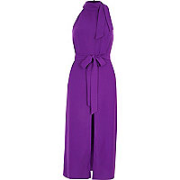 Purple high neck tie waist midi dress