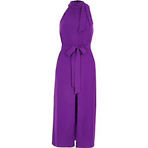 Paarse hoogsluitende midi-jurk met strikceintuur