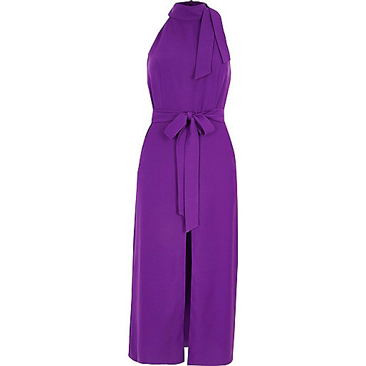 Purple high neck tie waist midi dress